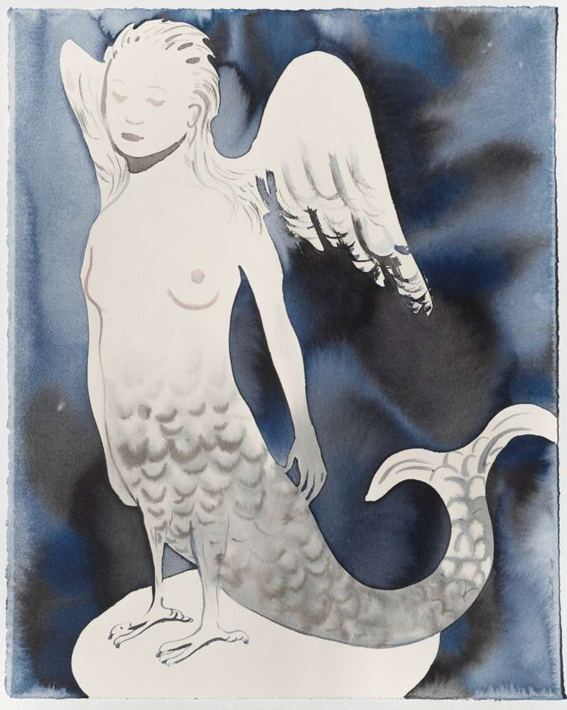 Françoise Pétrovitch, Sirène, 2018 Lavis d'encre sur papier50 × 40 cm / 19 5/8 × 15 3/4 in.