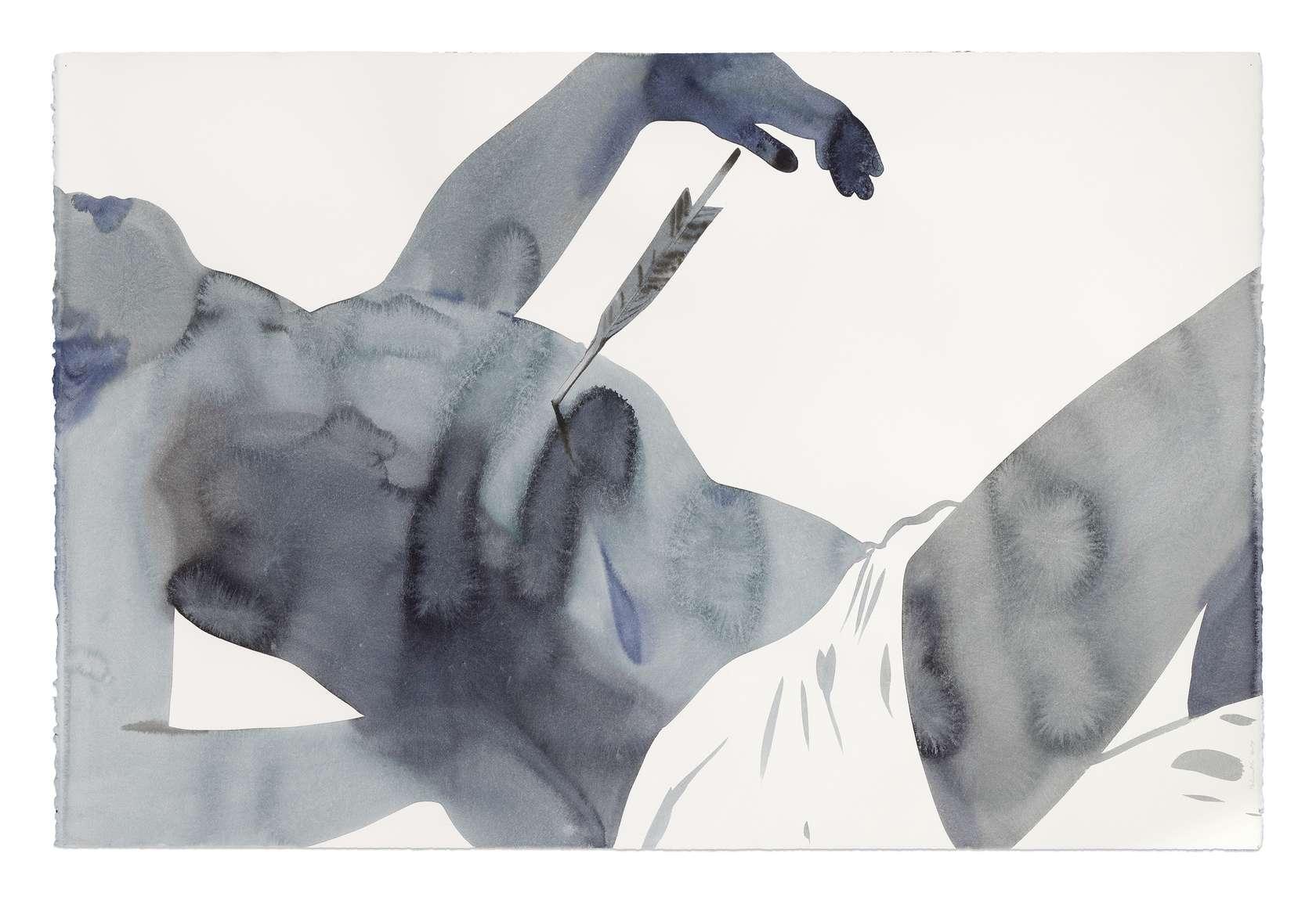 Françoise Pétrovitch, Saint Sébastien (Georges de la Tour), 2019 Lavis d'encre sur papier80 × 120 × 131 cm / 31 1/2 × 47 2/8 × 51 5/8 in.96 × 137 × 4.5 cm / 37 6/8 × 53 7/8 × 1 6/8 in.