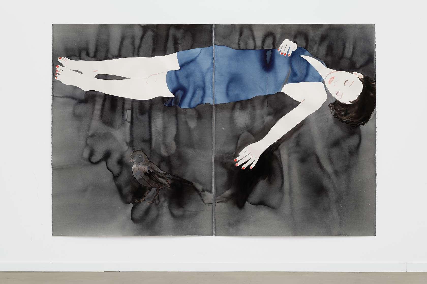 Françoise Pétrovitch, Étendu, 2017 Lavis d'encre sur papier160 × 240 cm / 63  × 94 1/2 in. | 176.4 × 258.2 × 5 cm / 69 1/2 × 101 5/8 × 2  in. (encadré/framed)