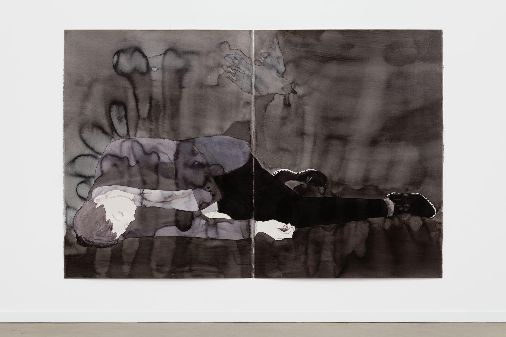 Françoise Pétrovitch, Étendu, 2018 Lavis d'encre sur papier160 × 240 cm / 63  × 94 1/2 in. | 176.4 × 258.2 × 5 cm / 69 1/2 × 101 5/8 × 2  in. (encadré/framed)