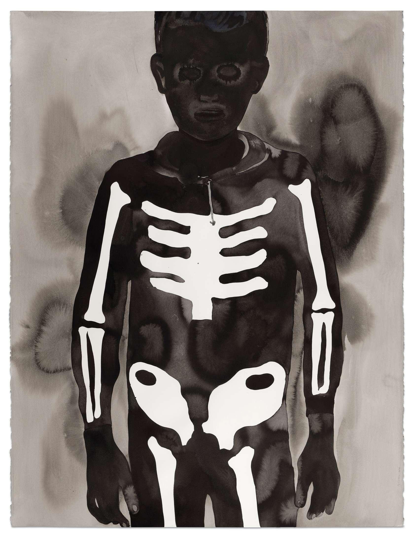 Françoise Pétrovitch, Garçon au squelette, 2020 Lavis d'encre sur papier160 × 120 cm / 63  × 47 2/8 in. | 175 × 137 × 4.5 cm / 68 7/8 × 53 7/8 × 1 6/8 in. (encadré/framed)
