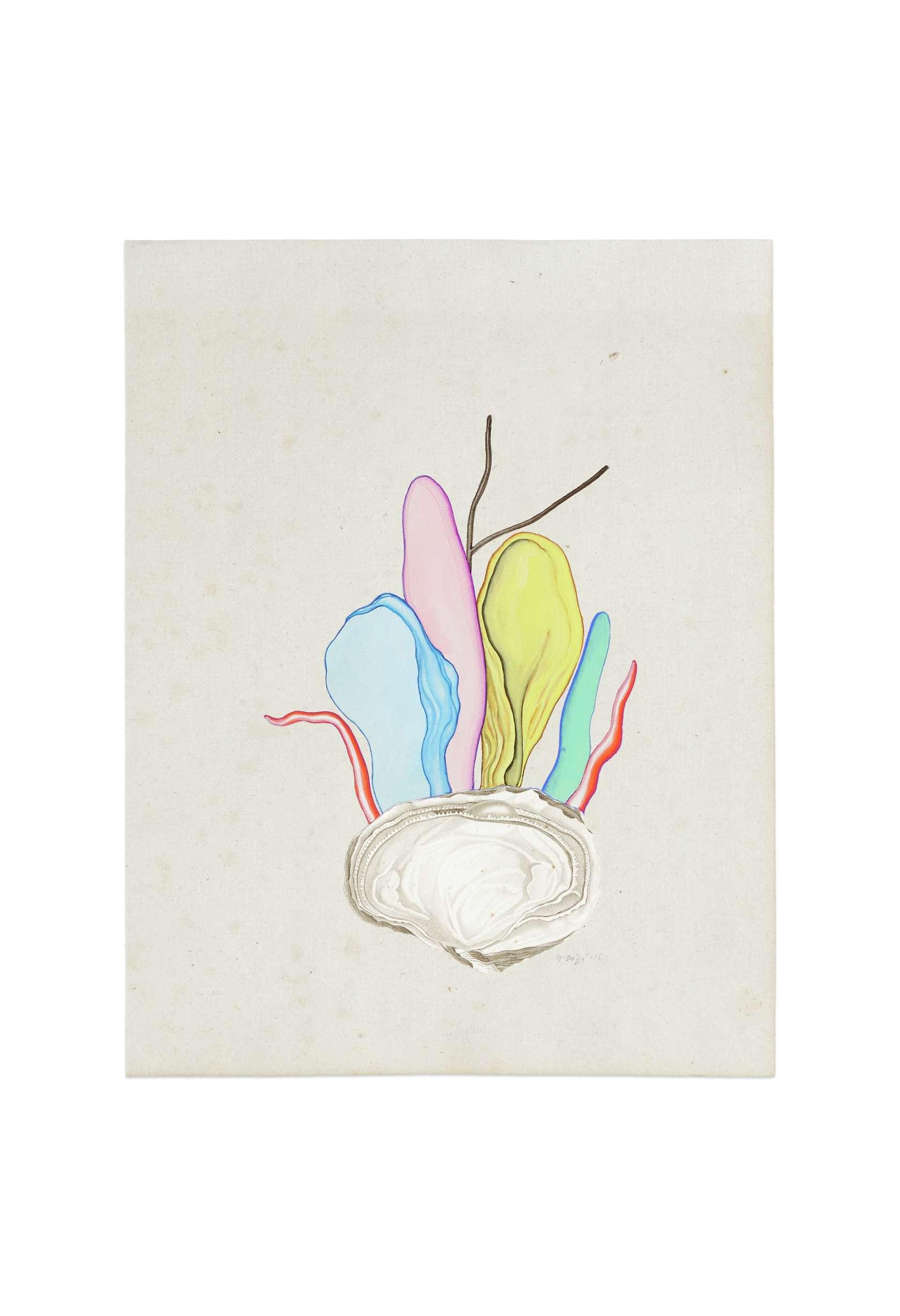 Guillaume Dégé, Sans titre, 2016 Gouache et collage sur papier XVIIIe25 x 19cm / 9 7/8 x 7 1/2inches