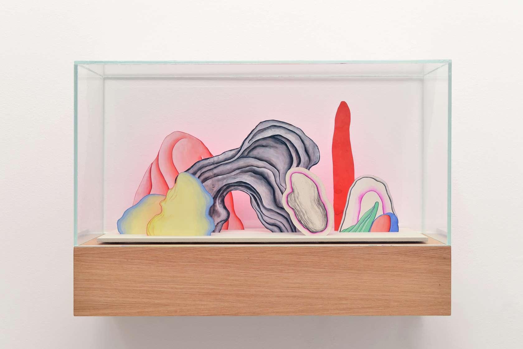 Guillaume Dégé, Sans titre, 2017 Vitrine en chêne et capot de verre, gouache sur papier XVIIIe contrecollé sur carton47.5 × 70 × 25 cm / 18 6/8 × 27 1/2 × 9 7/8 in.