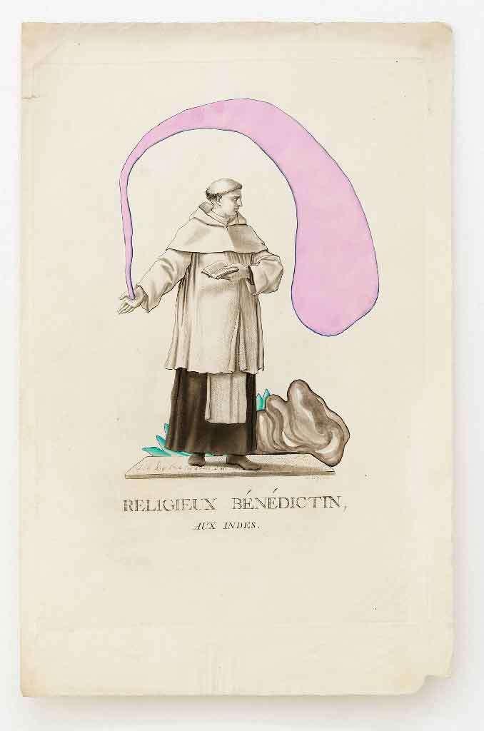 Guillaume Dégé, Religieux bénédictin, 2013 Gouache sur papier42 x 27.5cm / 16 1/2 x 10 7/8inches