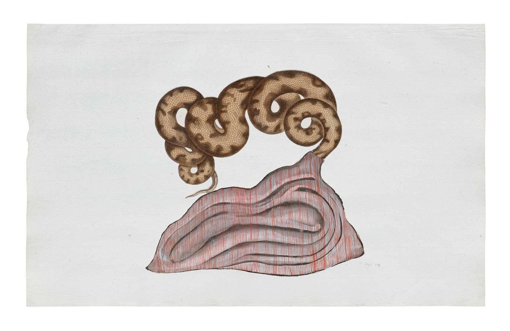 Guillaume Dégé, Sans titre, 2014 Gouache et collage sur papier XVIIIème21 x 34cm / 8 2/8 x 13 3/8inches
