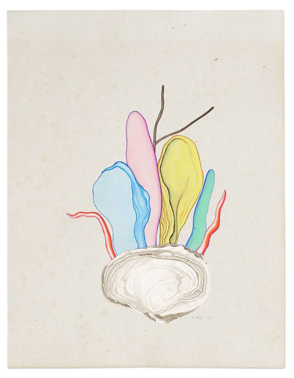 Guillaume Dégé, Sans titre, 2016 Gouache et collage sur papier XVIIIe25 × 19 cm / 9 7/8 × 7 1/2 in.