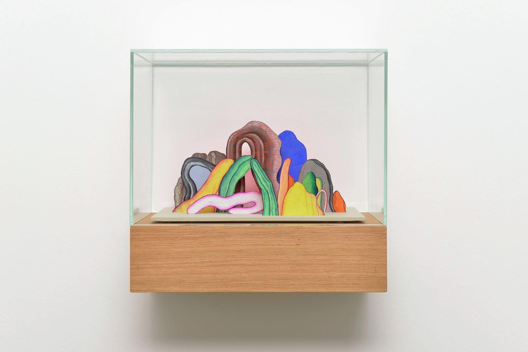 Guillaume Dégé, Sans titre, 2017 Vitrine en chêne et capot de verre, gouache sur papier XVIIIe contrecollé sur carton47.5 × 50 × 25 cm / 18 6/8 × 19 5/8 × 9 7/8 in.