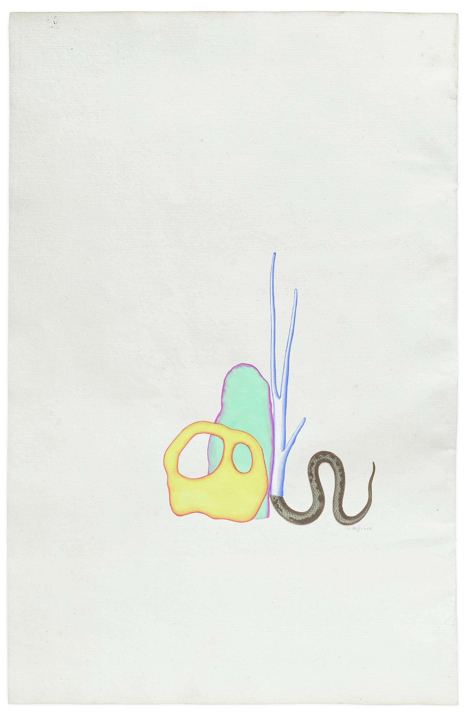 Guillaume Dégé, Sans titre, 2016 Gouache et collage sur papier XVIIIe44.4 × 29.1 cm / 17 1/2 × 11 1/2 in.