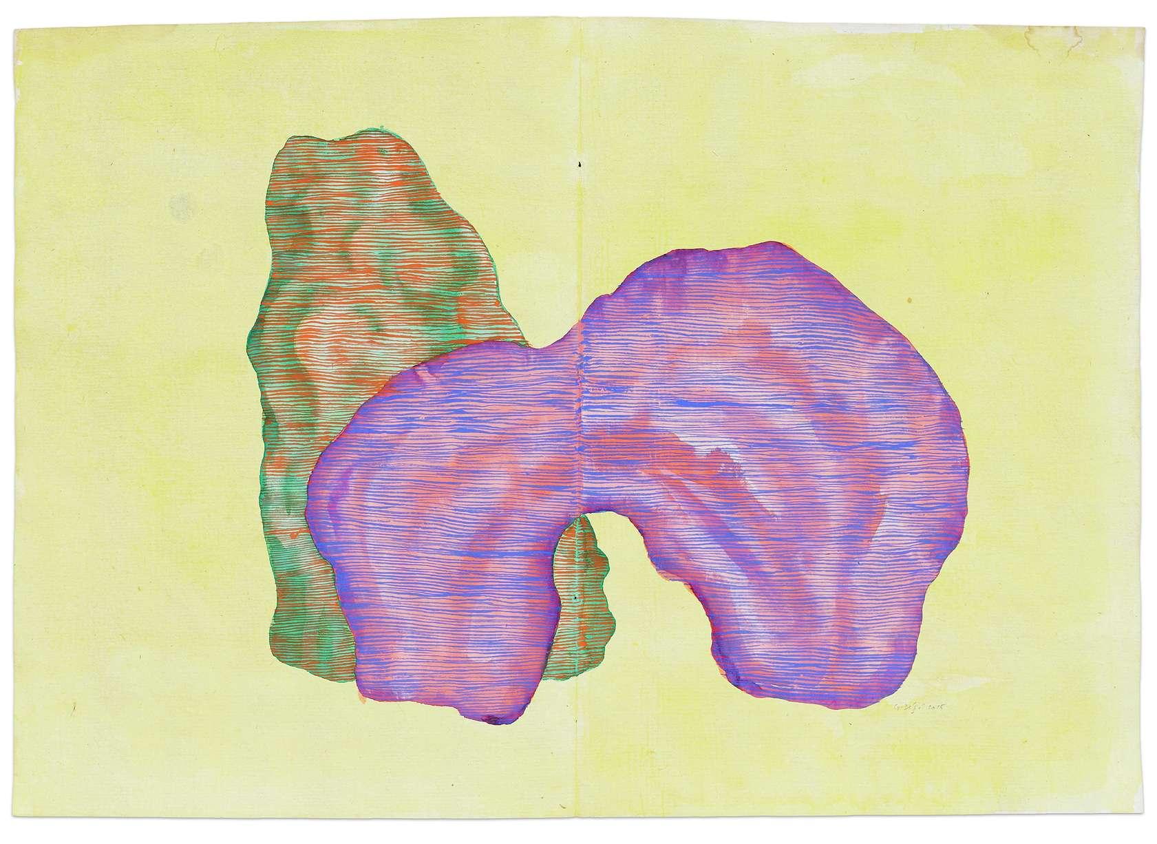 Guillaume Dégé, Sans titre, 2015 Gouache sur papier XVIIIe25.9 × 36.8 cm / 10 2/8 × 14 1/2 in.