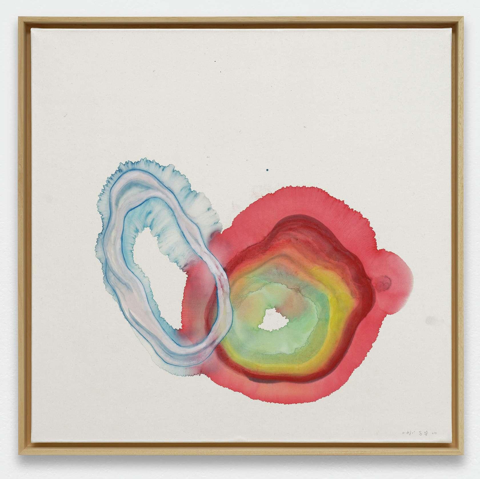 Guillaume Dégé, Sans titre, 2019 Gouache sur papier chinois marouflé sur toile67.5 × 68.5 cm / 26 5/8 × 27  in.