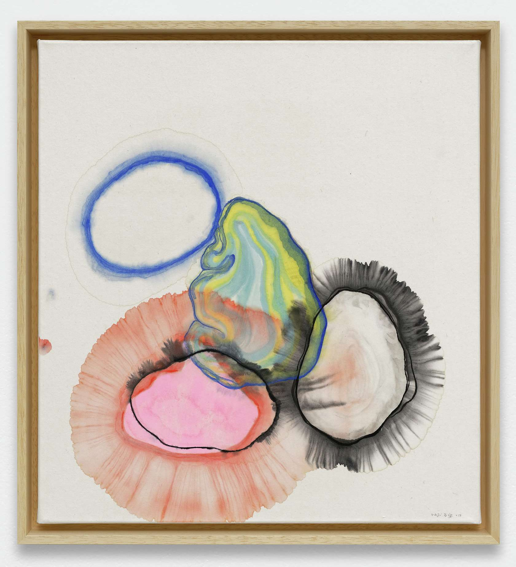 Guillaume Dégé, Sans titre, 2019 Gouache sur papier chinois marouflé sur toile47.5 × 43.5 cm / 18 6/8 × 17 1/8 in.