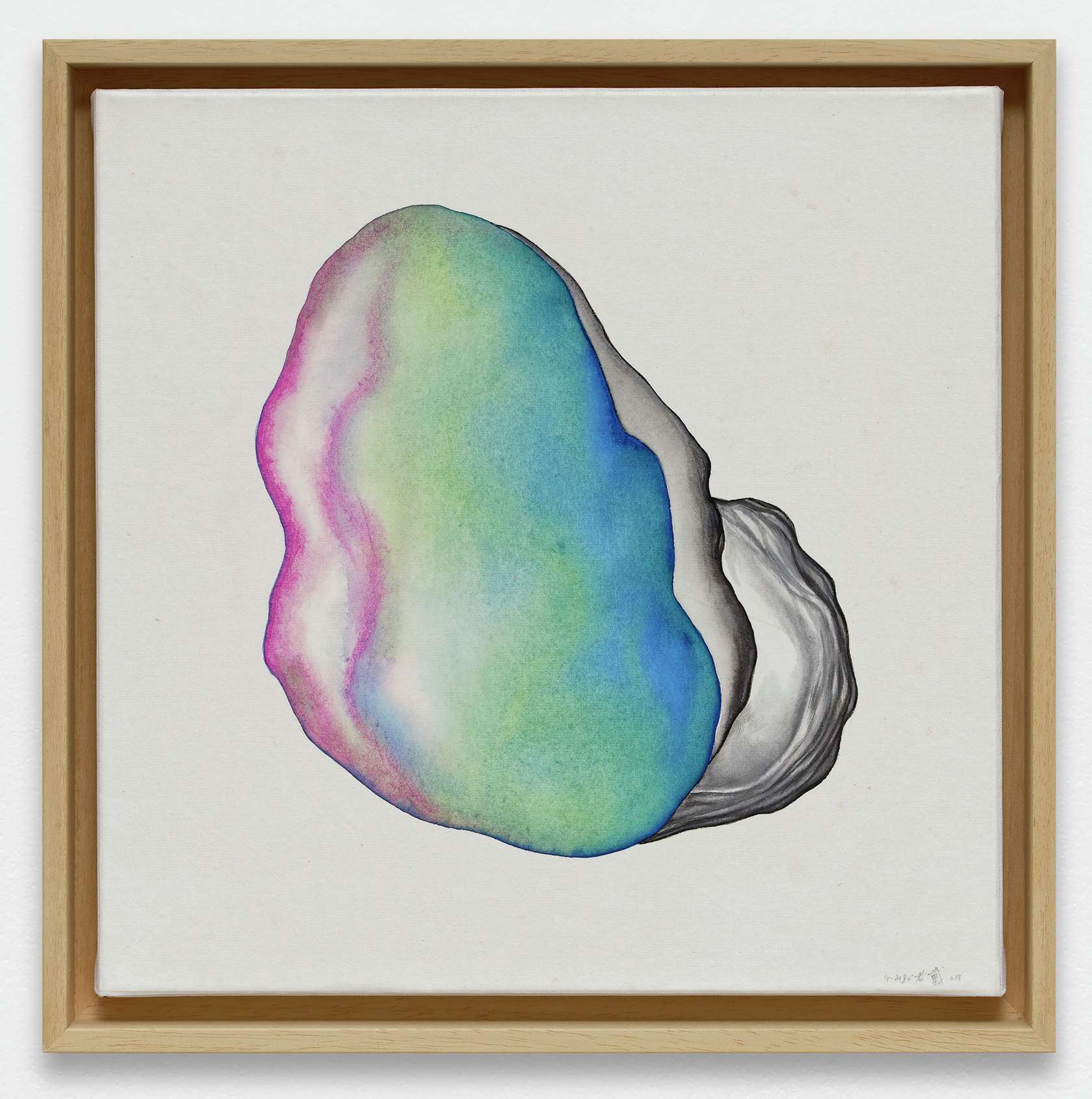 Guillaume Dégé, Un grain de moutarde, 2019 Gouache sur papier chinois marouflé sur toile33.5 × 33.5 cm / 13 2/8 × 13 2/8 in.