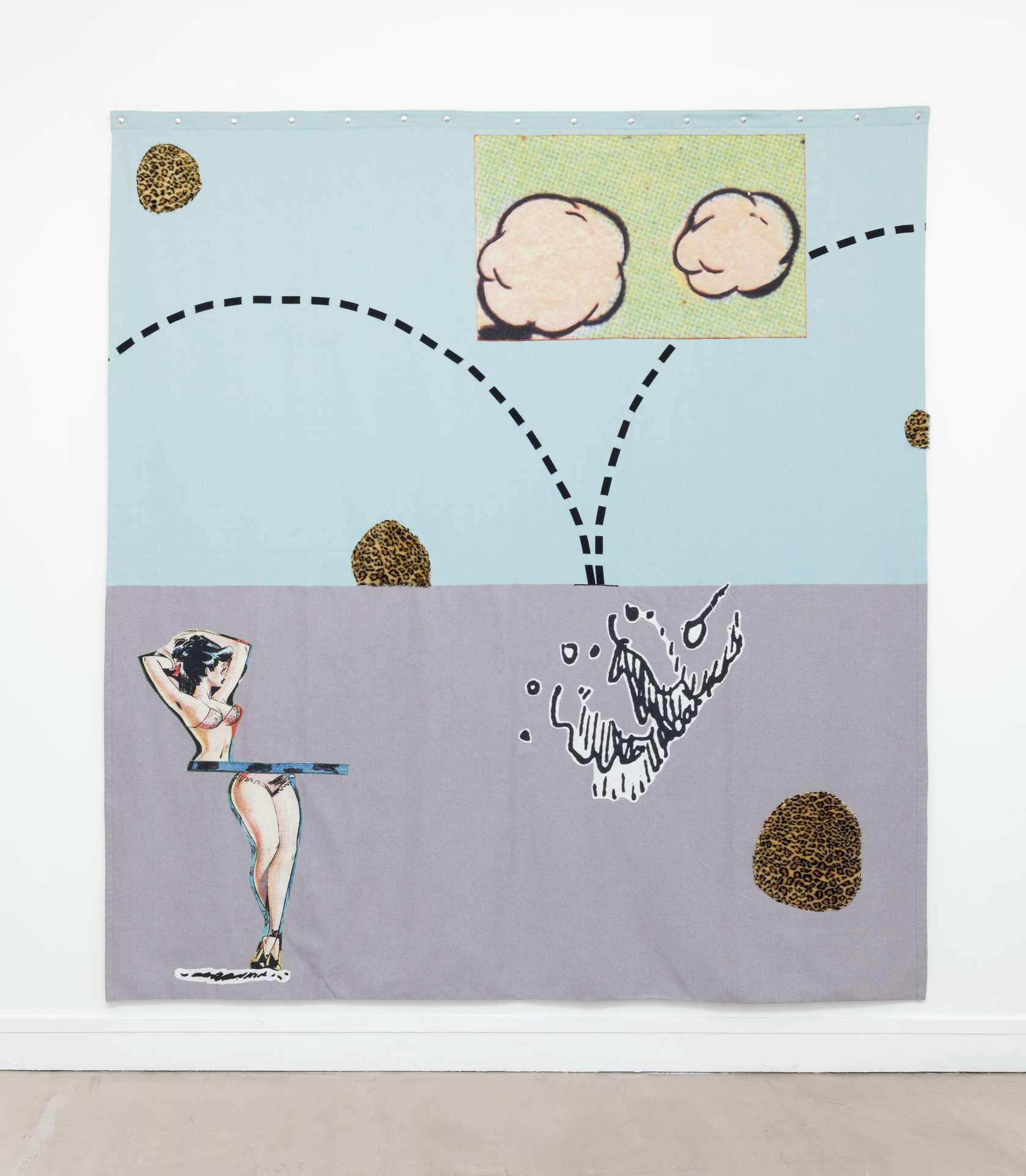 Hippolyte Hentgen, B-R-E-E-K, 2018 Assemblage de tissus cousus et imprimés250 x 238 cm / 98 3/8 x 93 6/8 inches