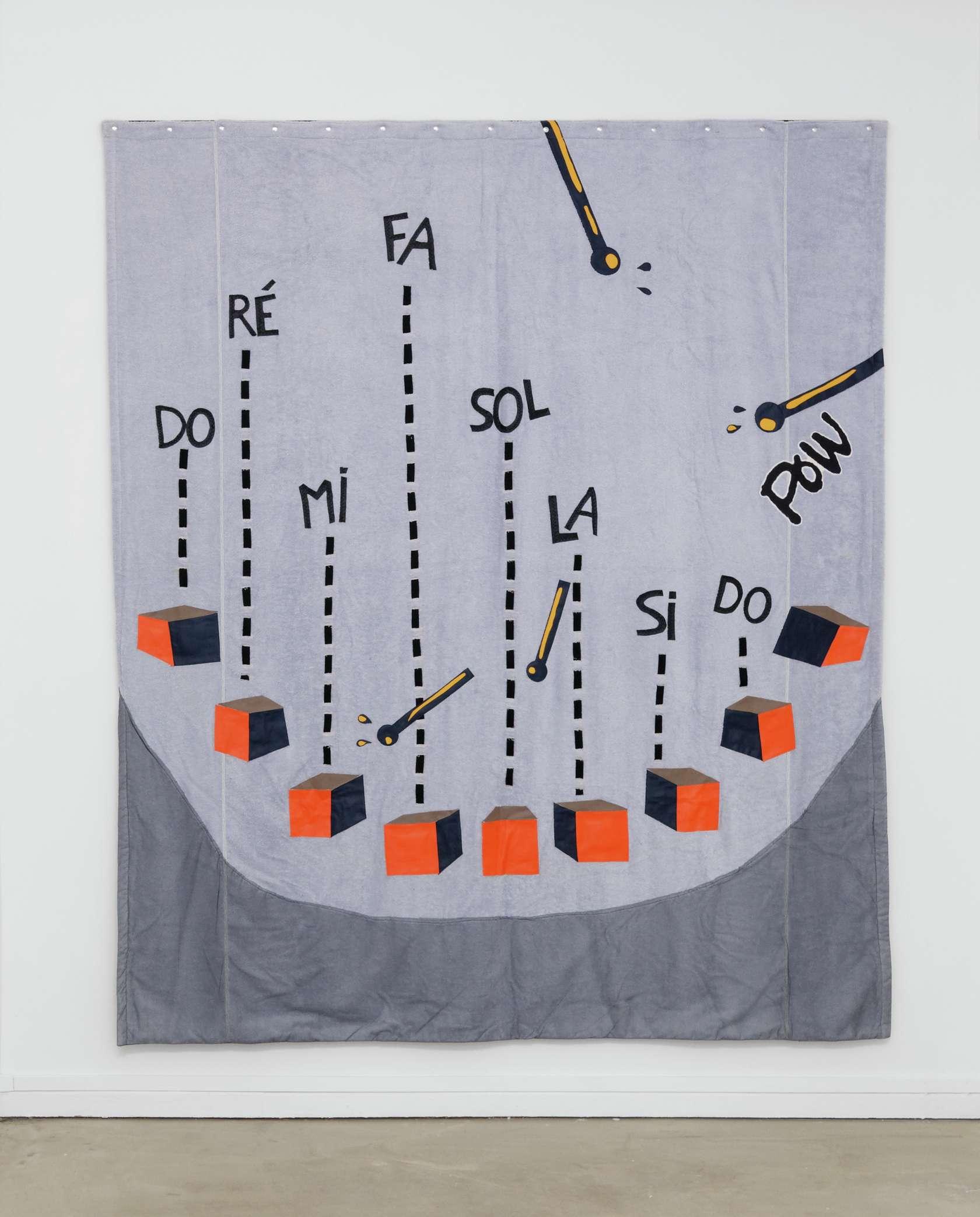 Hippolyte Hentgen, B-R-E-E-K, 2018 Assemblage de tissus cousus250 x 214 cm / 98 3/8 x 84 1/4 inches
