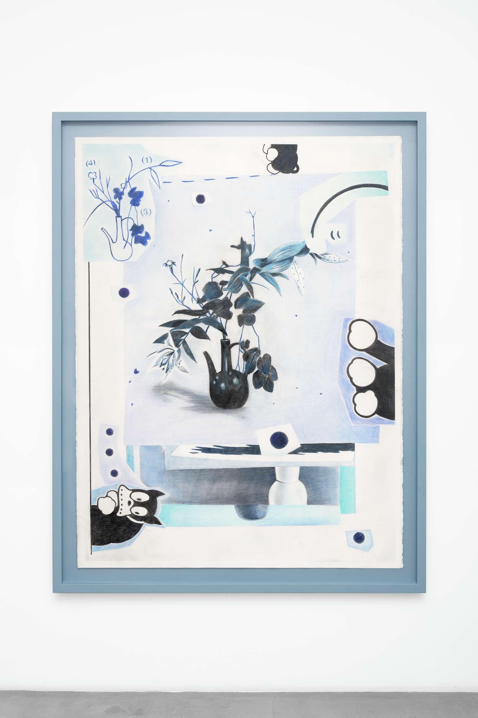 Hippolyte Hentgen, Ikebana, 2018 Crayon de couleur sur papier Arches160 x 120 cm / 63  x 47 2/8 inches | 175 x 136 cm / 68 7/8 x 53 1/2 inches (encadré/framed)