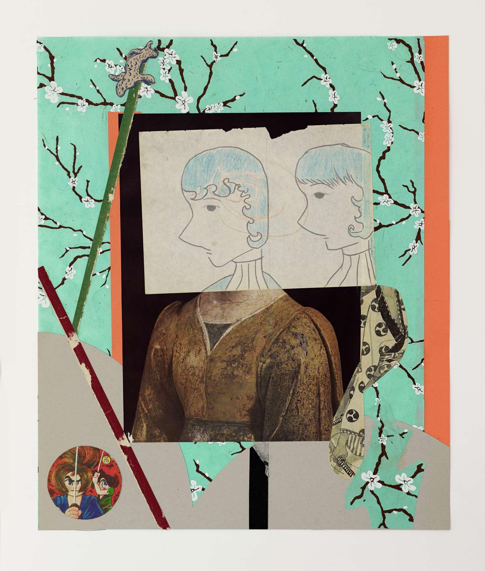 Hippolyte Hentgen, Sanjo Dori, 2019 Collage sur papier45 × 37.5 cm / 17 6/8 × 14 6/8 in.