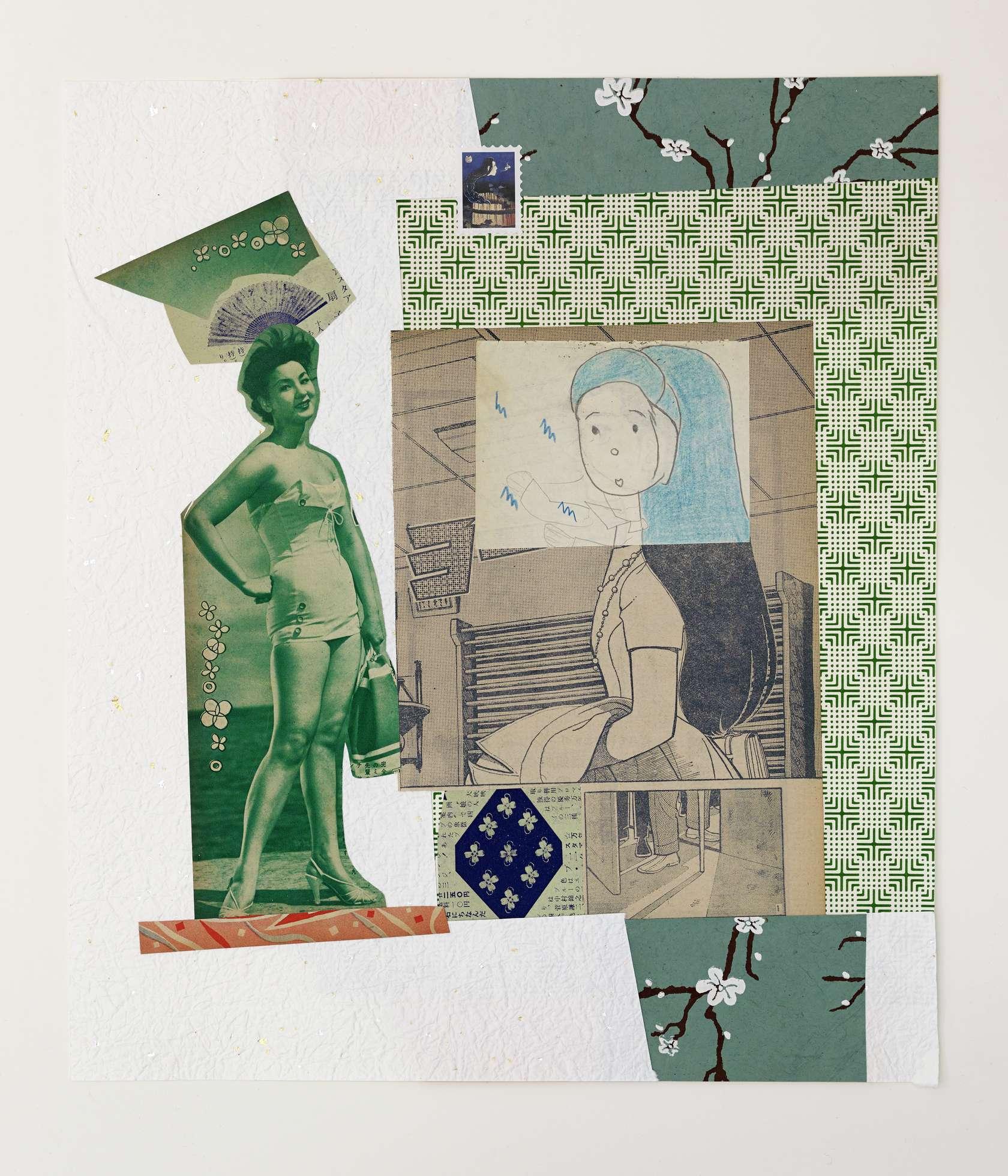 Hippolyte Hentgen, Sanjo Dori, 2019 Collage sur papier41 x 34.5 cm / 16 1/8 x 13 5/8 inches