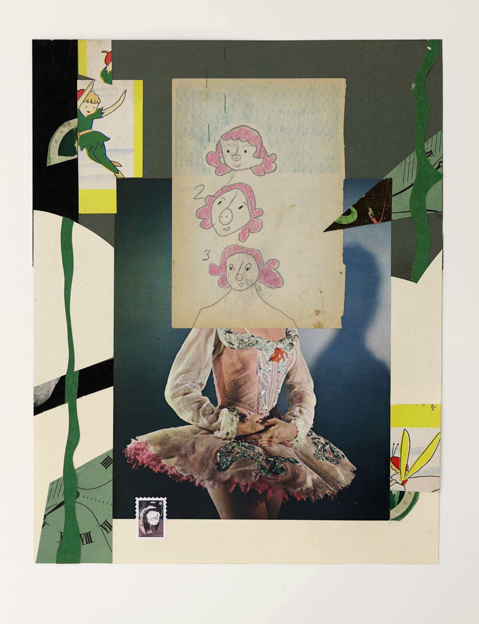 Hippolyte Hentgen, Sanjo Dori, 2019 Collage sur papier44 × 34.5 cm / 17 3/8 × 13 5/8 in.