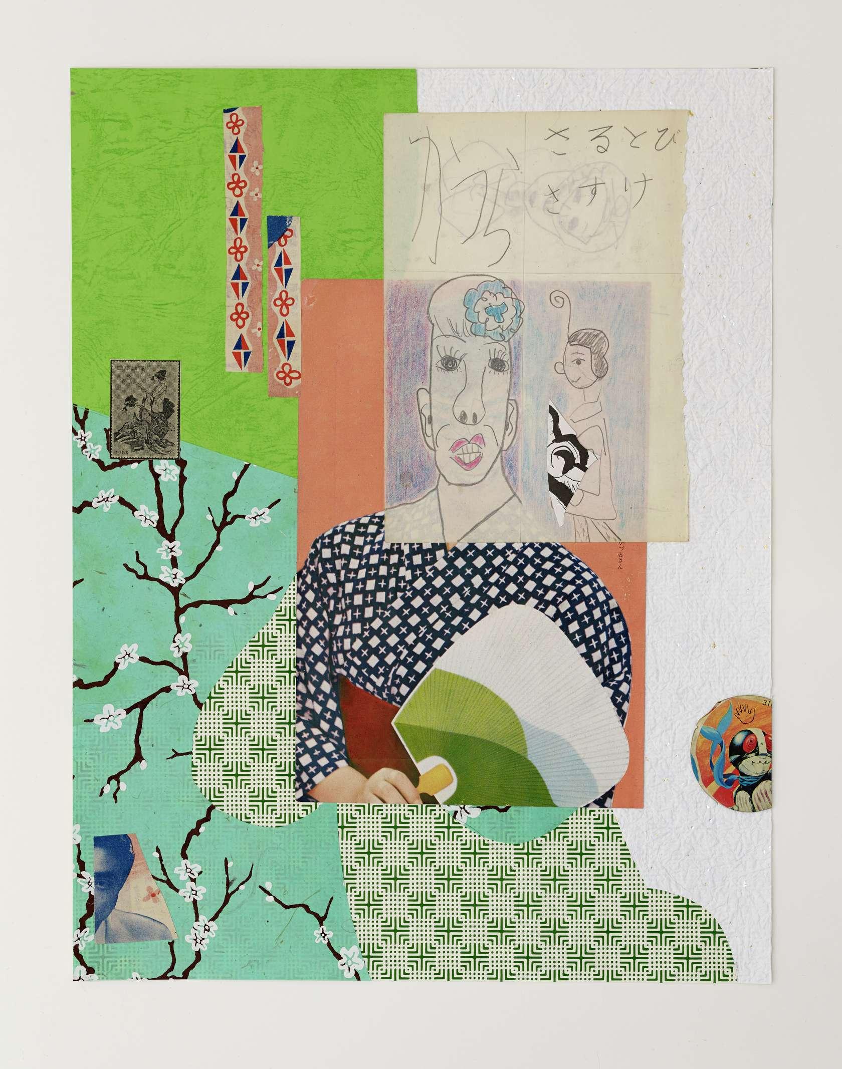 Hippolyte Hentgen, Sanjo Dori, 2019 Collage sur papier44 x 34 cm / 17 3/8 x 13 3/8 inches