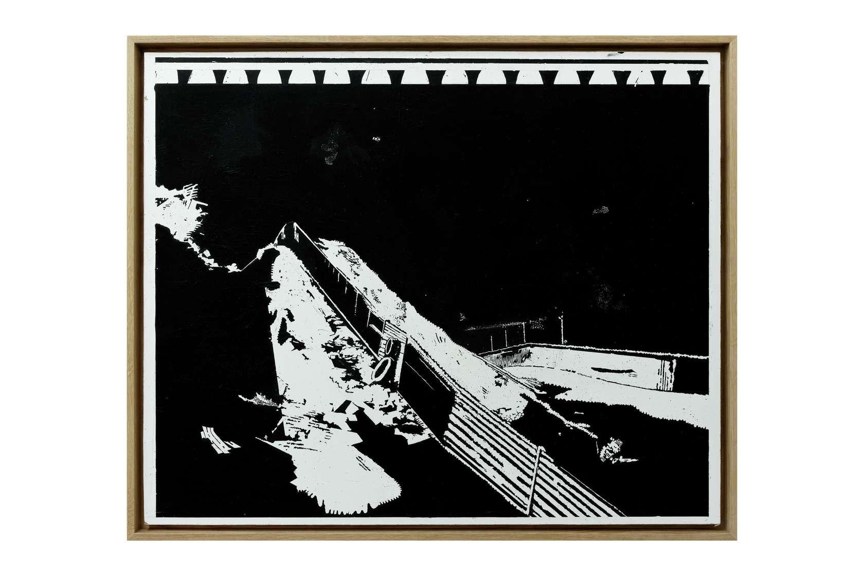 Julien Tiberi, El astro de la suela I, 2011 Acrylique gratée sur isorel laqué blanc61.5 × 75.5 cm / 24 2/8 × 29 6/8 in.