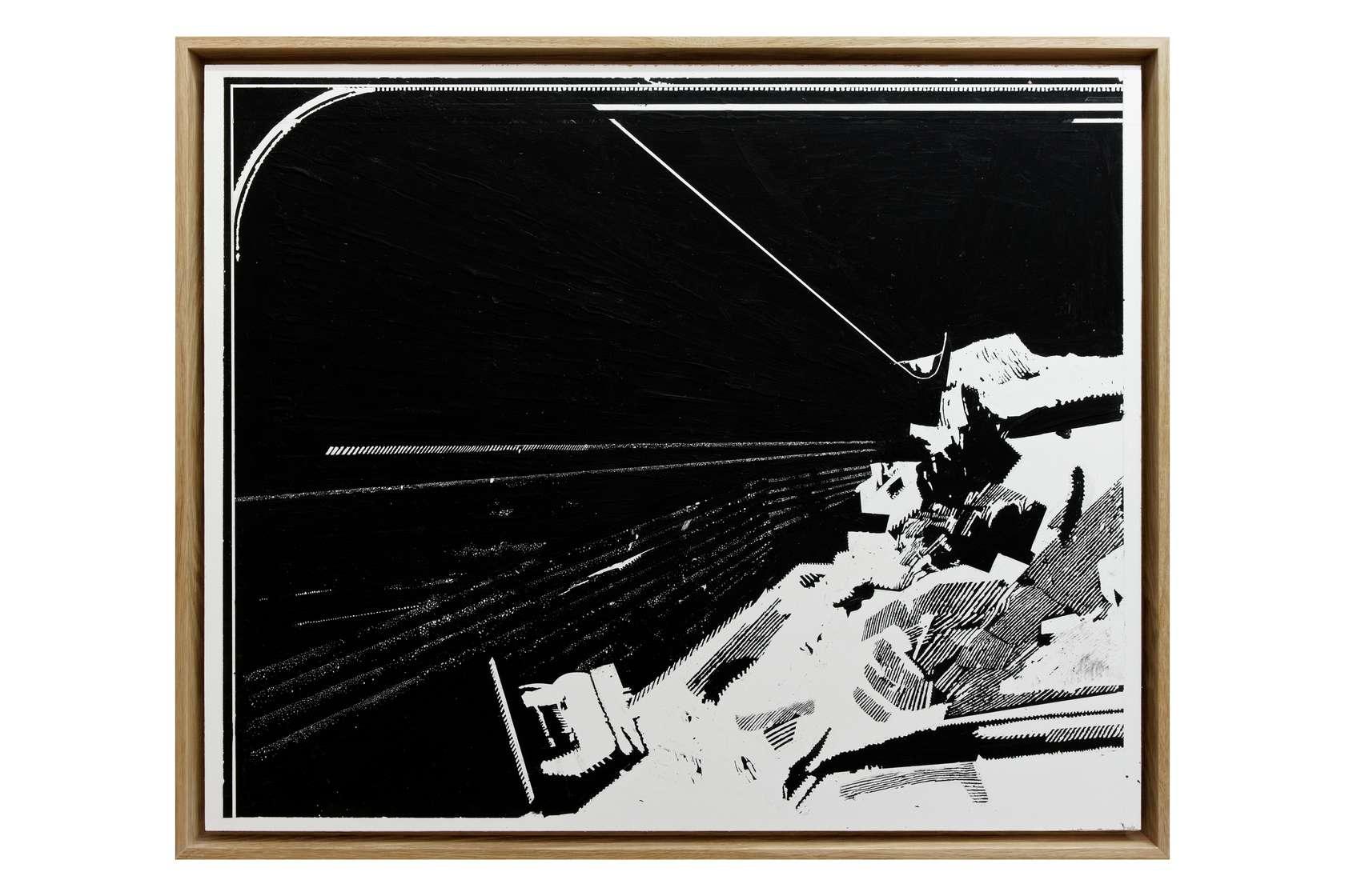Julien Tiberi, El astro de la suela IV, 2011 Acrylique graté sur isorel laquée blanc61.5 x 75.5 cm / 24 2/8 x 29 6/8 inches