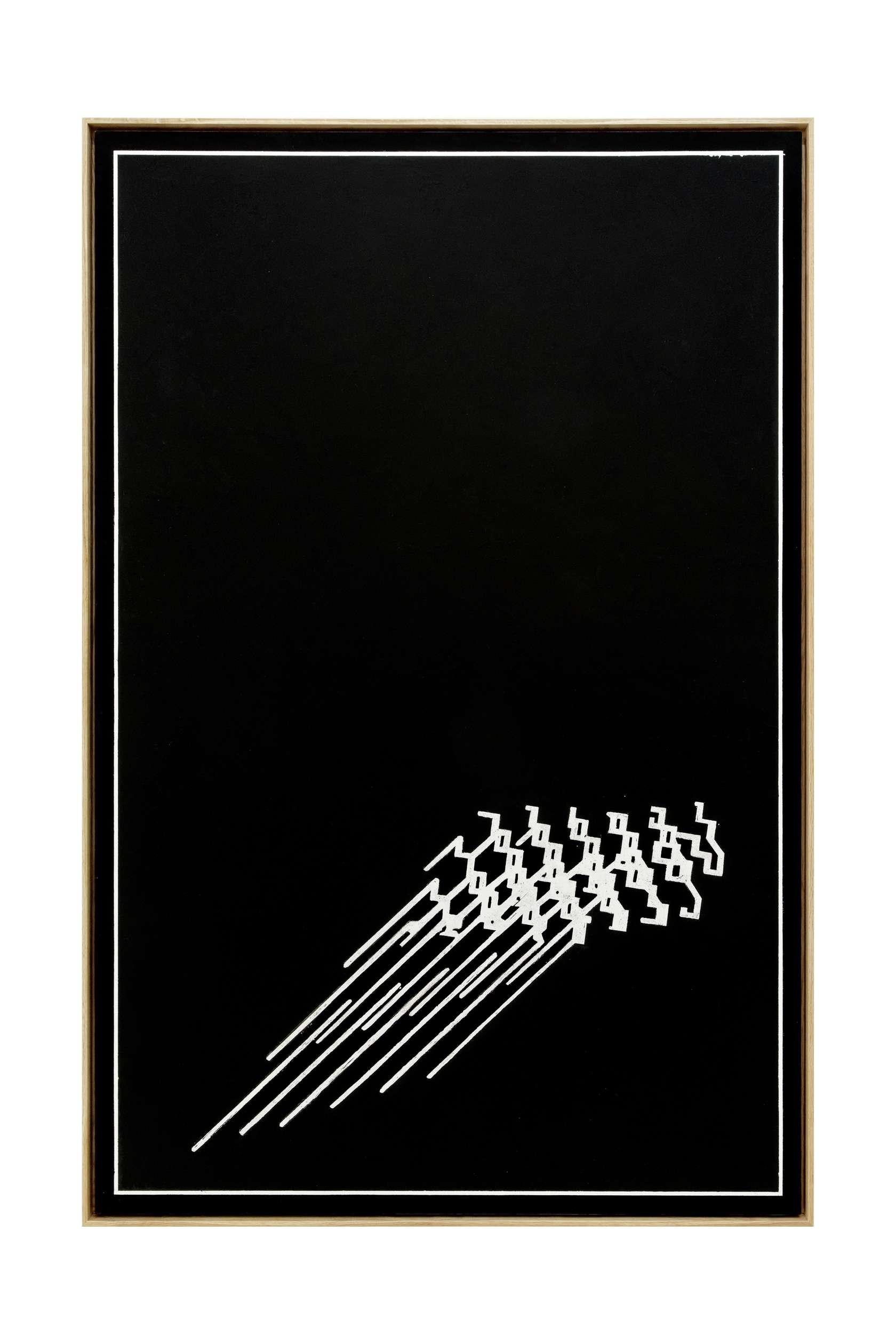 Julien Tiberi, Raw vision, 2011 Acrylique gratée sur isorel laqué blanc186 × 123 cm / 73 2/8 × 48 3/8 in.