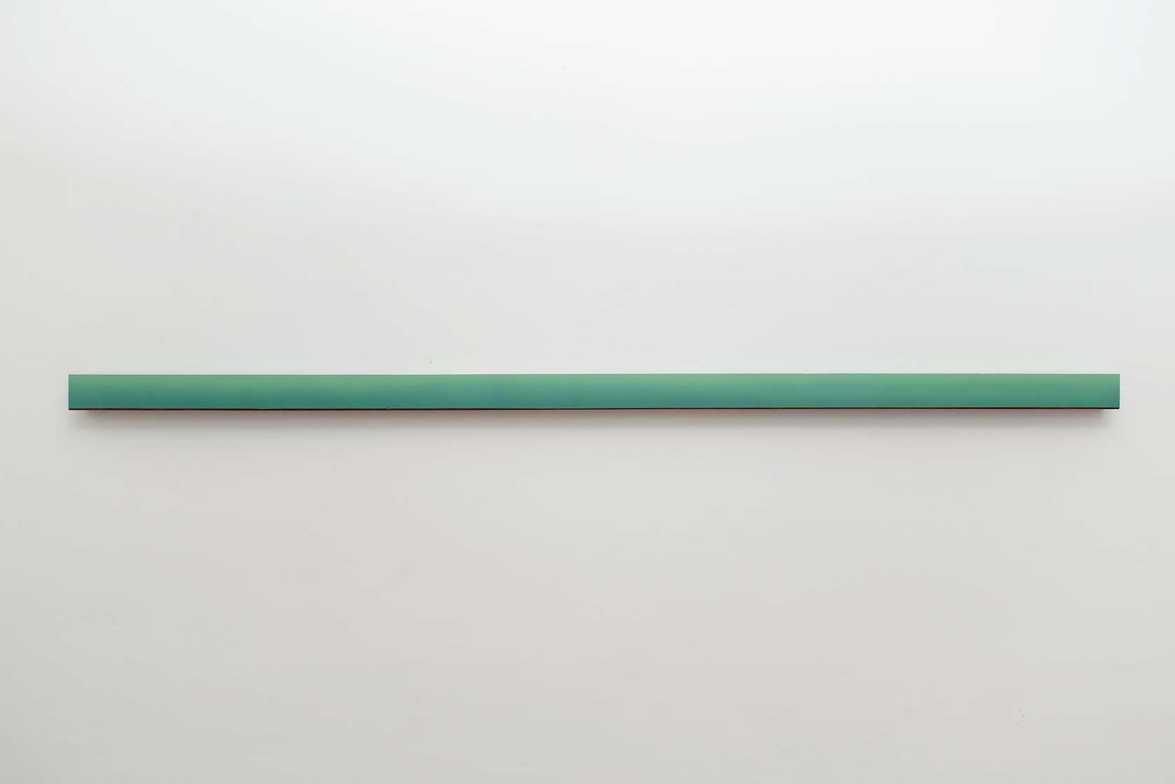 Julien Tiberi, Sans titre, 2014 Acrylique et gravure sur bois 6.5 × 200.5 × 5 cm / 2 1/2 × 78 7/8 × 2  in.