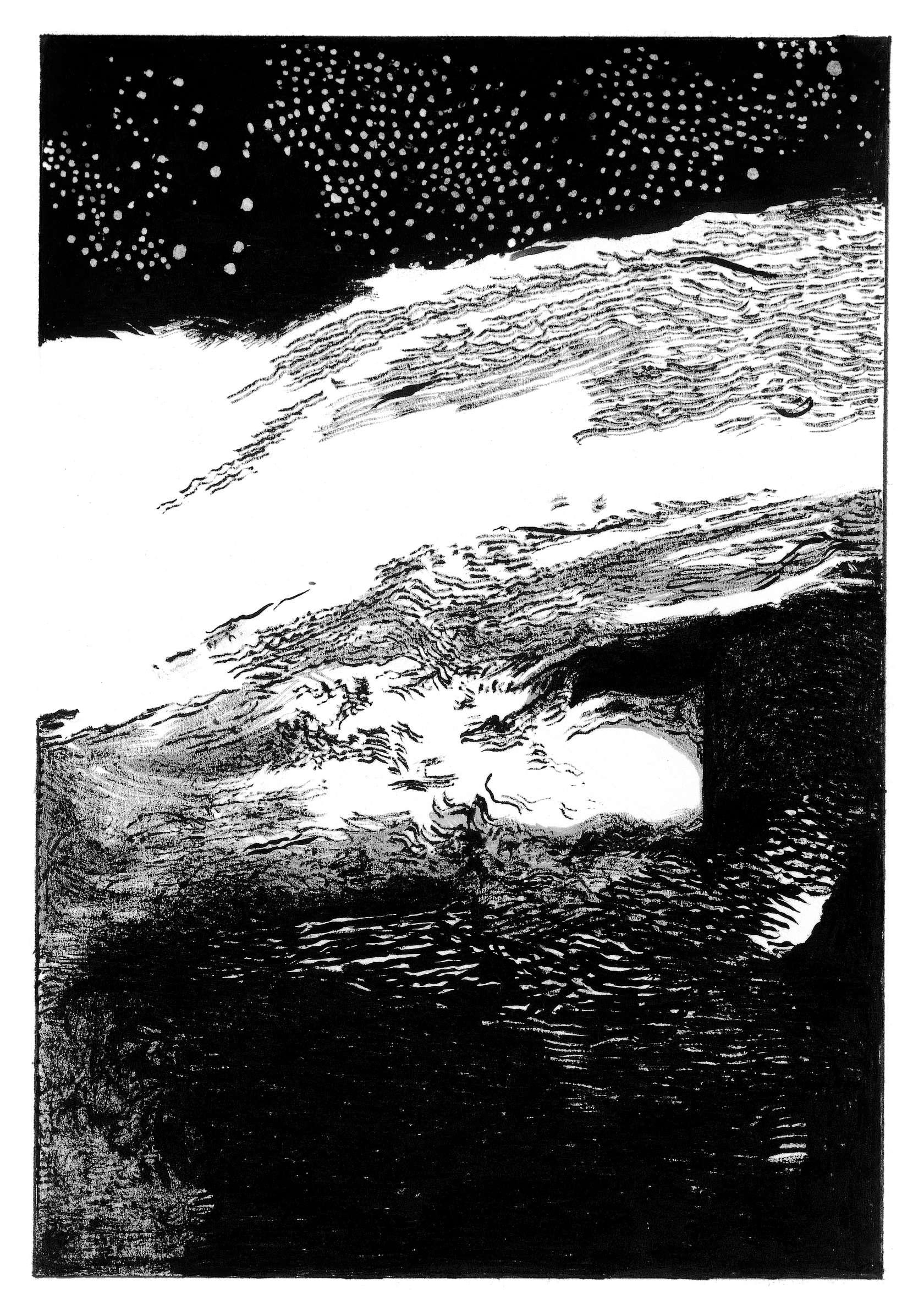 Julien Tiberi, Symphonic Lava, 2019 Encre et mine de plomb sur papier17.5 × 12 cm / 6 7/8 × 4 6/8 in.