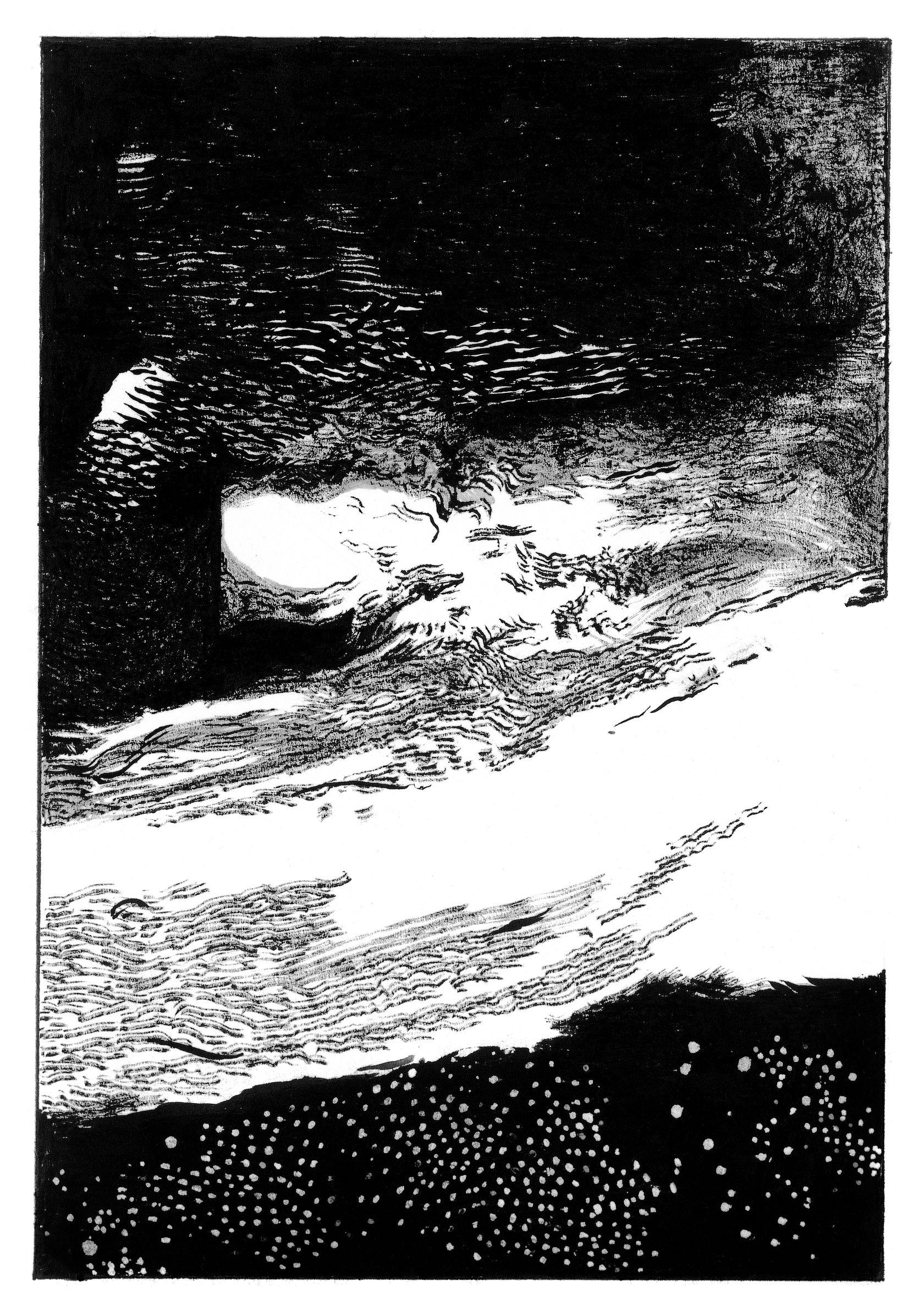 Julien Tiberi, Symphonic Lava, 2019 Encre et mine de plomb sur papier17.5 × 12 cm / 6 7/8 × 4 6/8 in. | 31.5 × 25.3 × 2.4 cm / 12 3/8 × 10  × 1  in. (encadré/framed)