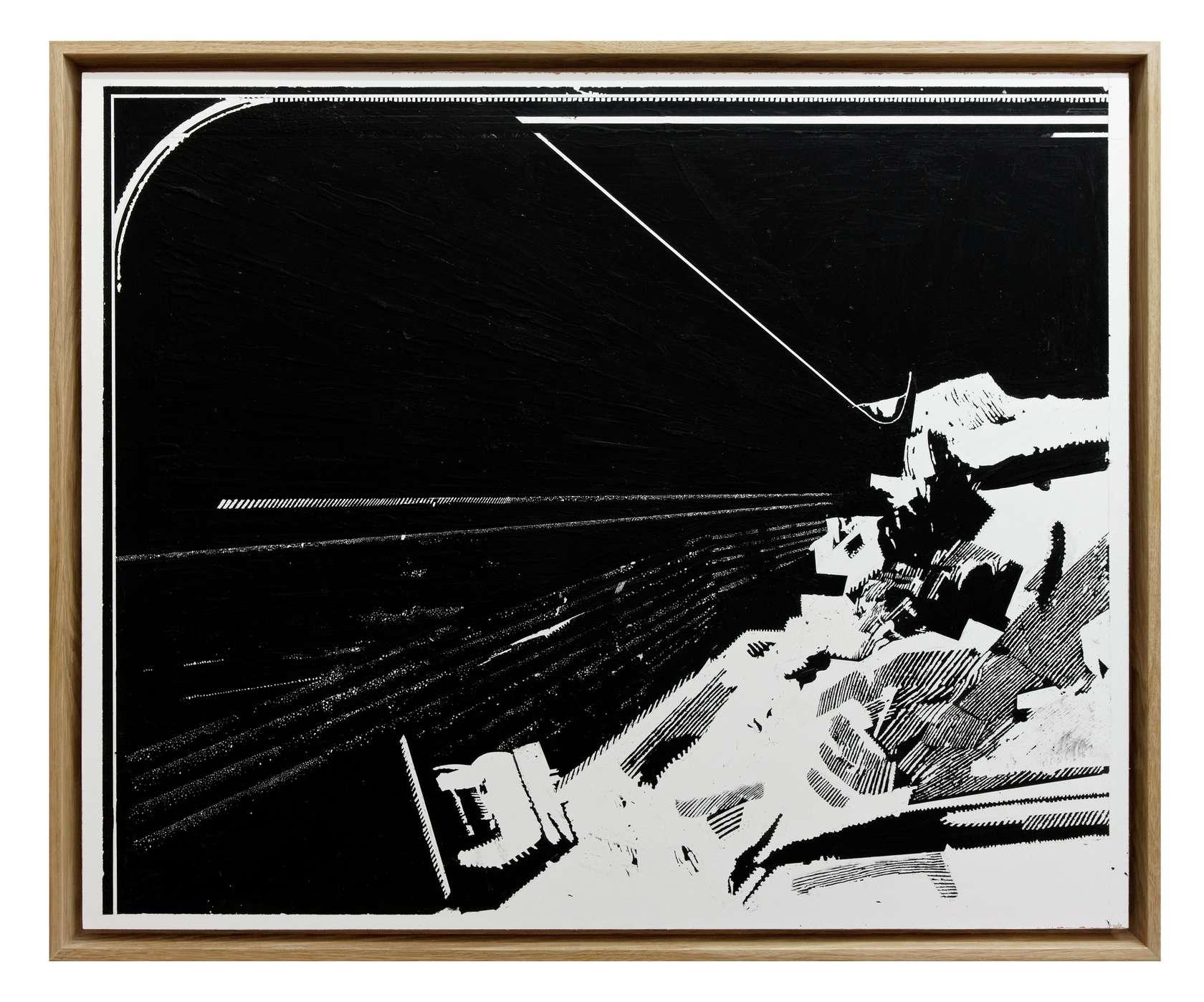 Julien Tiberi, El astro de la suela IV, 2011 Acrylique gratée sur isorel laqué blanc61.5 × 75.5 cm / 24 2/8 × 29 6/8 in.