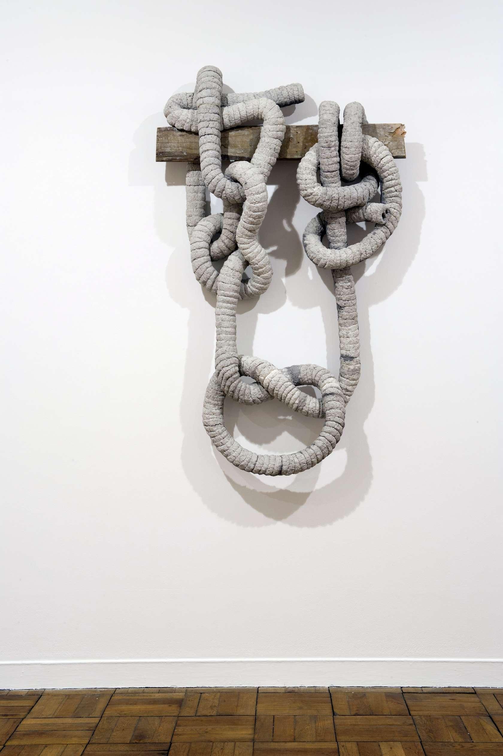 Laurent Le Deunff, Noeud de trompe V, 2012 Papier mâché, ciment et bois180 x 110 x 35 cm / 70 7/8 x 43 2/8 x 13 6/8 inches