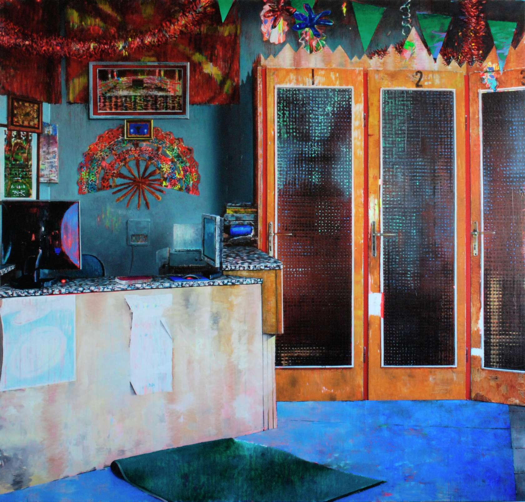 Laurent Proux, Taxiphone, Sonnenalle, Berlin (2), 2010 Huile sur toile210 × 220 cm / 82 5/8 × 86 5/8 in.