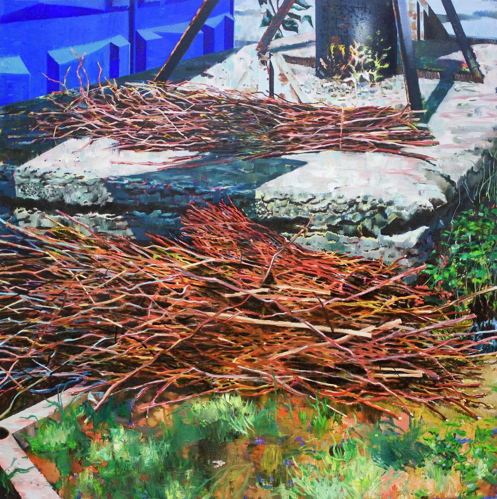 Laurent Proux, Fagots. Partizanskaya, Moscou, 2010 Huile sur toile130 × 130 cm / 51 1/8 × 51 1/8 in.
