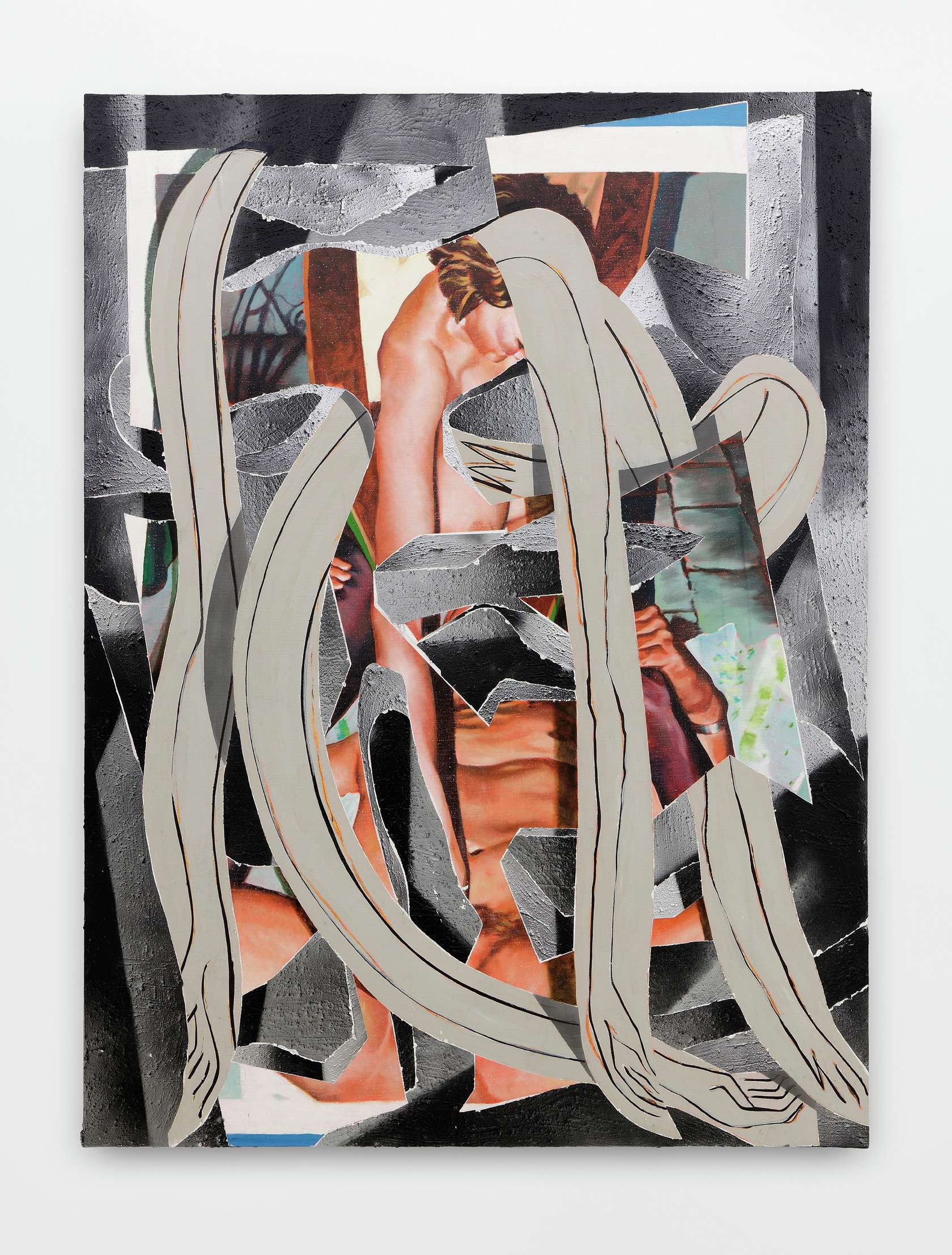 Laurent Proux, Couple I, 2016 Huile sur toile174 × 130 cm / 68 1/2 × 51 1/8 in.