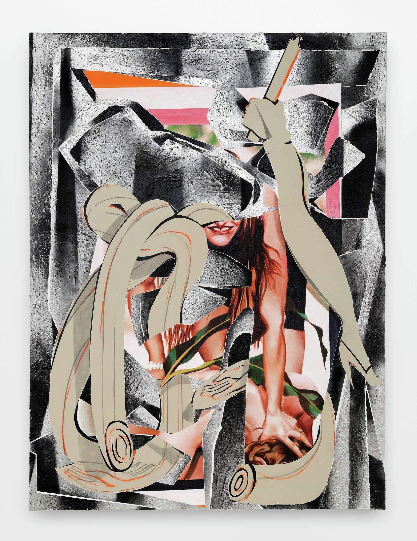 Laurent Proux, Couple II, 2017 Huile sur toile174 x 130 cm / 68 1/2 x 51 1/8 inches