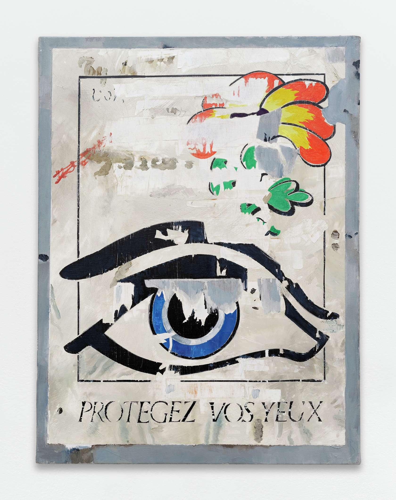 Laurent Proux, Protégez vos yeux, 2017 Huile sur toile61.5 × 46 cm / 24 2/8 × 18 1/8 in.