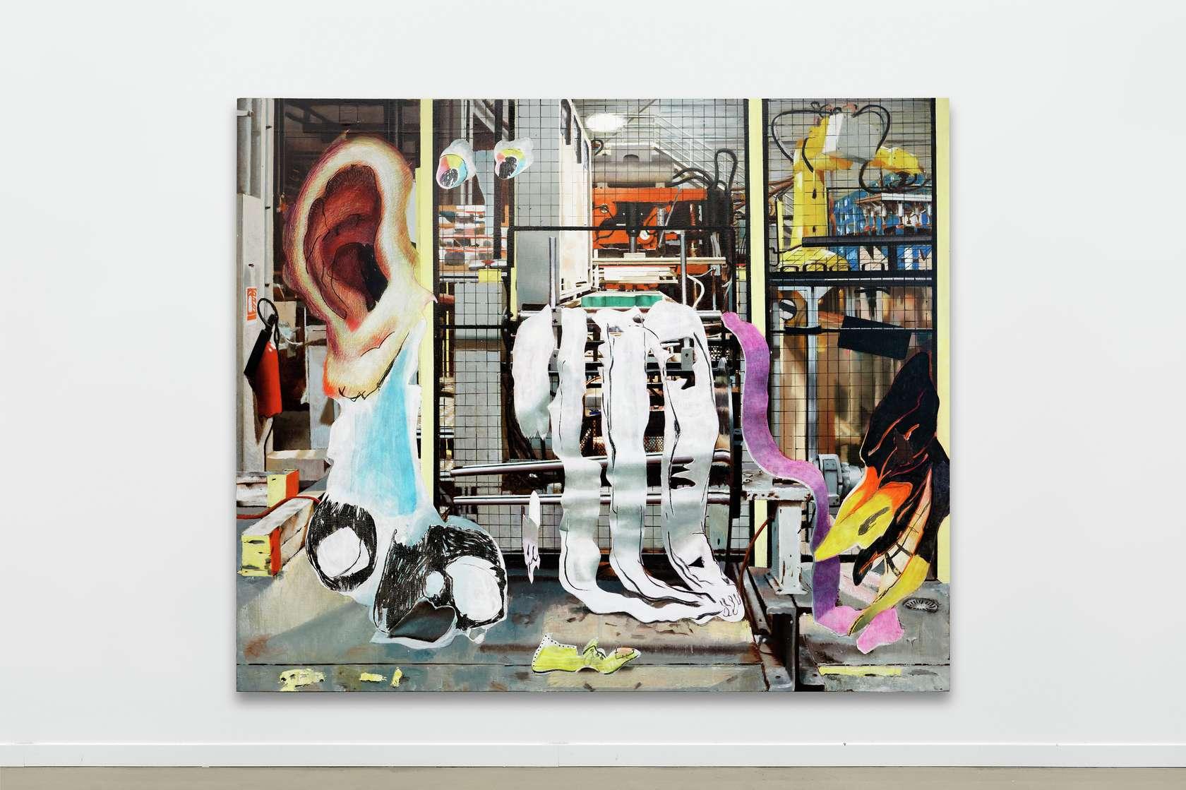 Laurent Proux, La jungle éléctrique, 2018 Huile sur toile200 × 240 cm / 78 6/8 × 94 1/2 in.