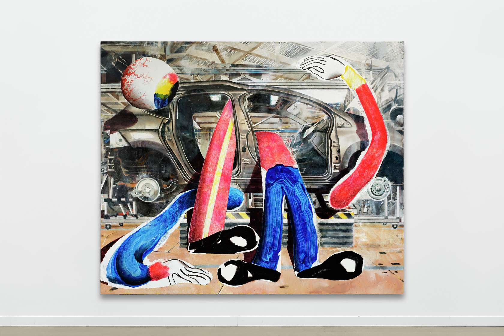 Laurent Proux, Les opérateurs, 2018 Huile sur toile240 × 200 cm / 94 1/2 × 78 6/8 in.