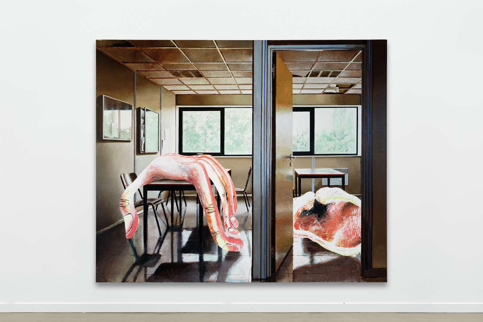 Laurent Proux, Salle de repos, 2018 Huile sur toile200 × 240 cm / 78 6/8 × 94 1/2 in.