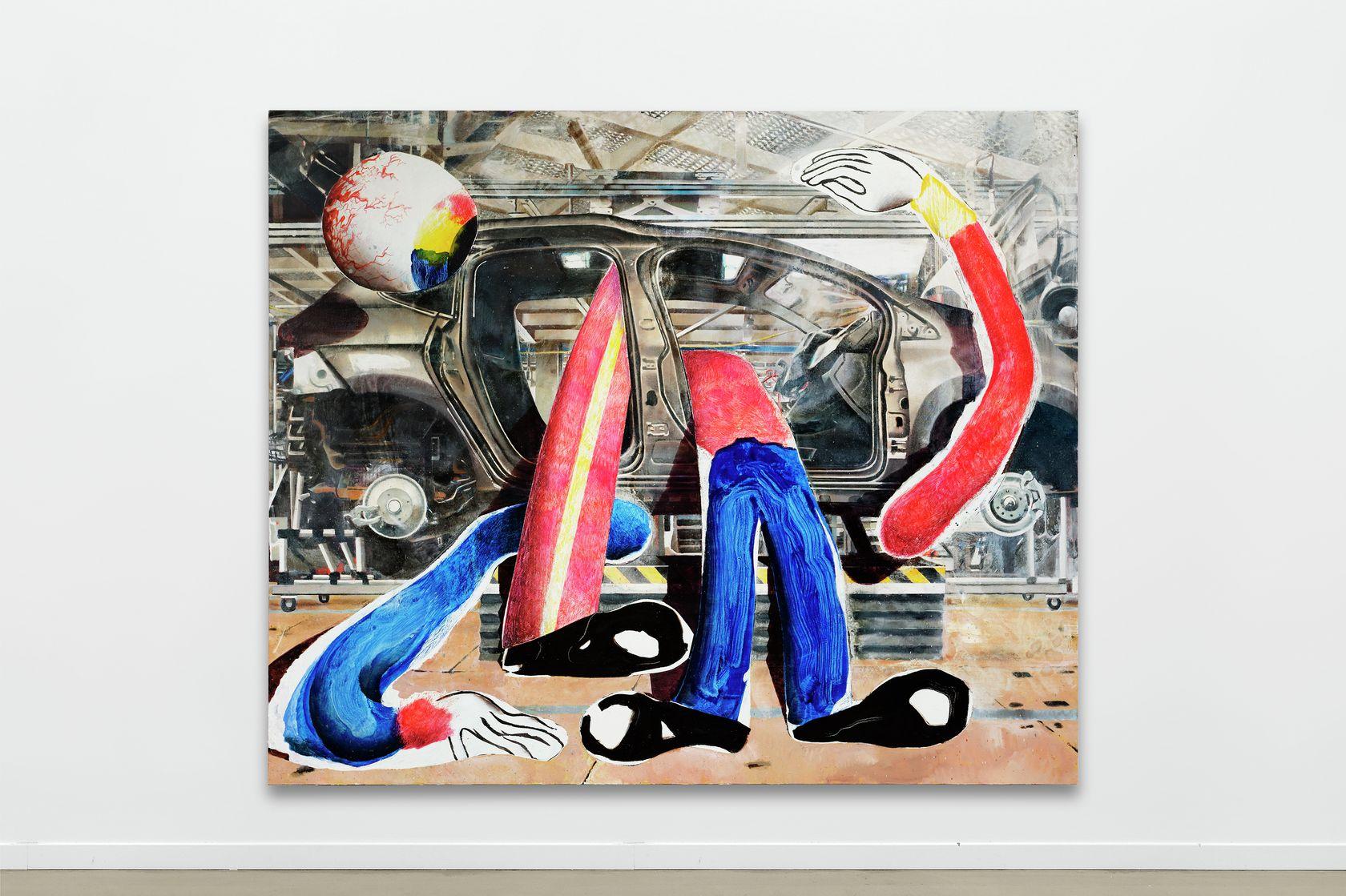Laurent Proux, Les opérateurs, 2018 Huile sur toile240 × 200 × 3 cm / 94 1/2 × 78 6/8 × 1 1/8 in.