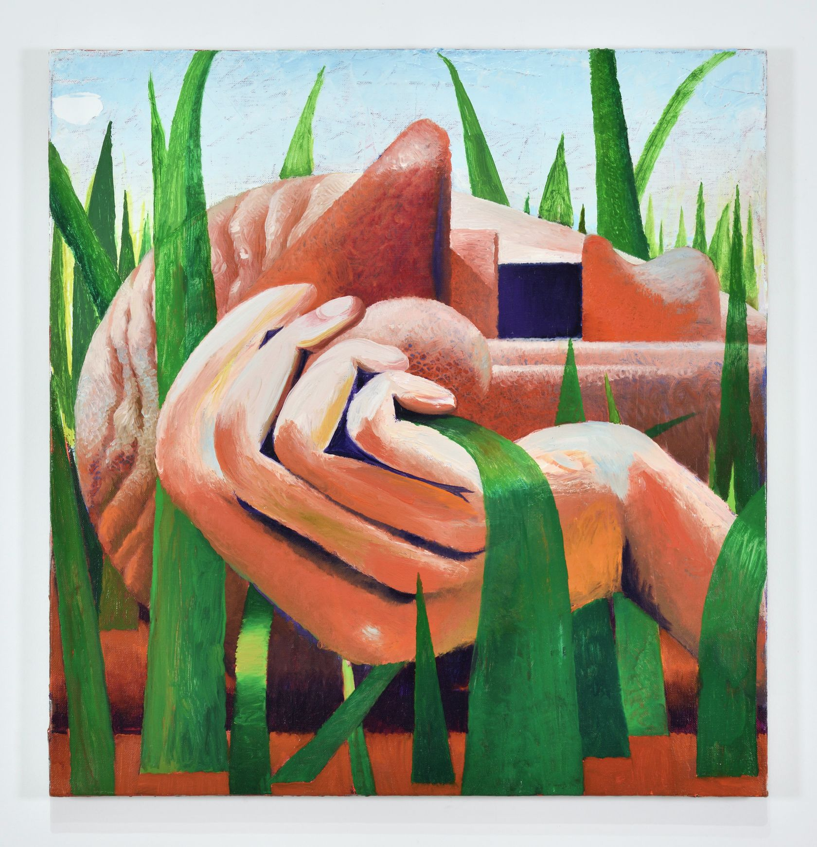 Laurent Proux, Tête dans l'herbe (n°7), 2021 Huile sur toile65 × 62 cm / 25 5/8 × 24 3/8 in. | 69 × 66 × 4 cm / 27 1/8 × 26  × 1 5/8 in. (encadré/framed)