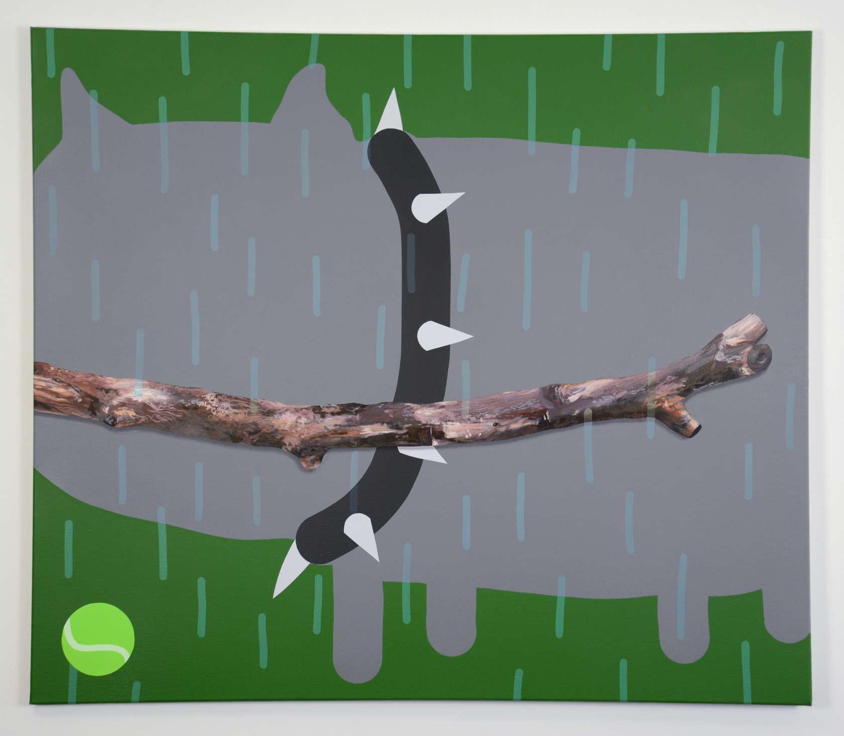 Oli Epp, Biggest Stick, 2017 Huile, acrylique et peinture aérosol sur toile102 × 120 cm / 40 1/8 × 47 2/8 in.