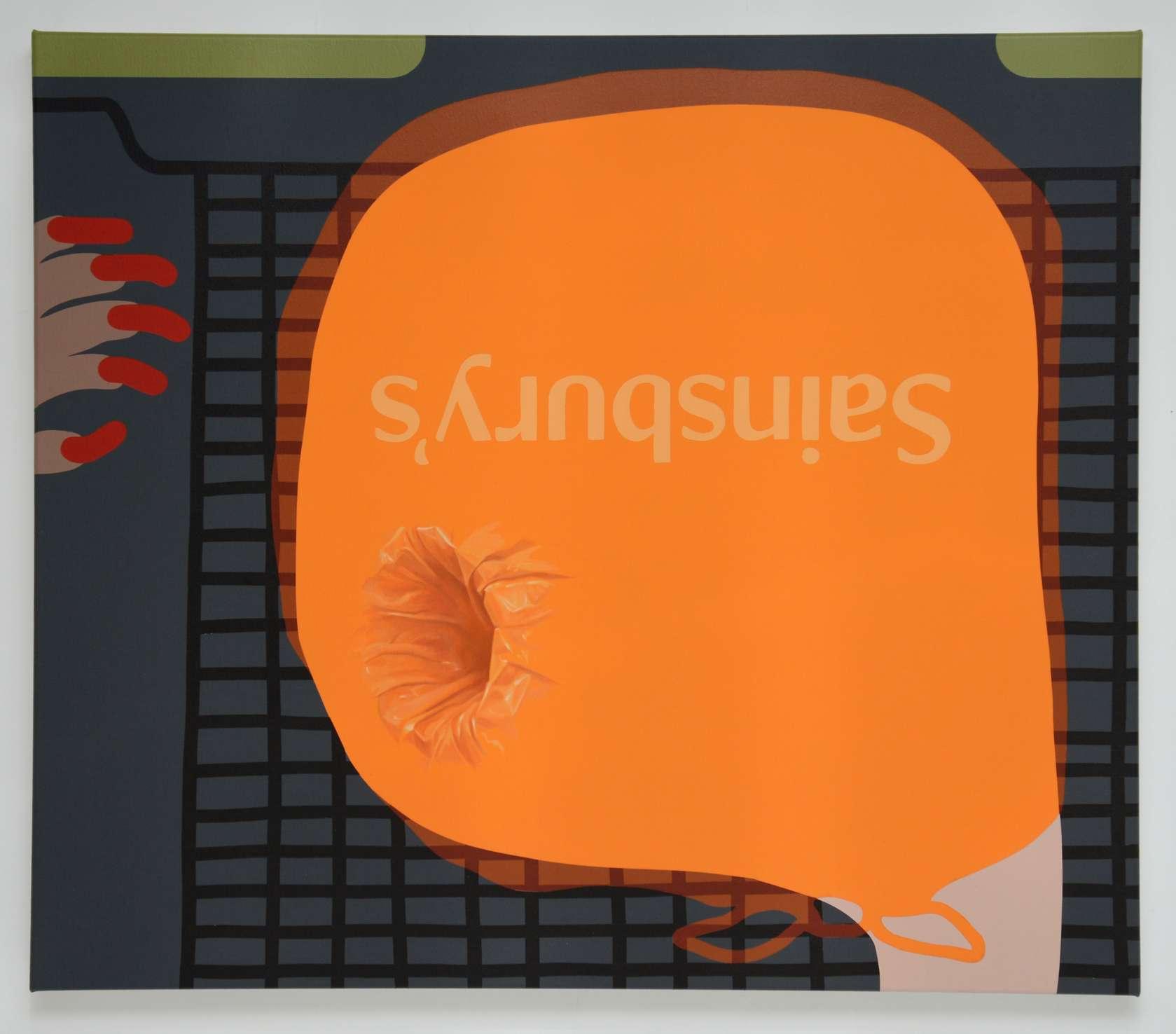 Oli Epp, Bag for Life, 2018 Huile, acrylique et peinture aérosol sur toile80 × 90 cm / 31 1/2 × 35 3/8 in.