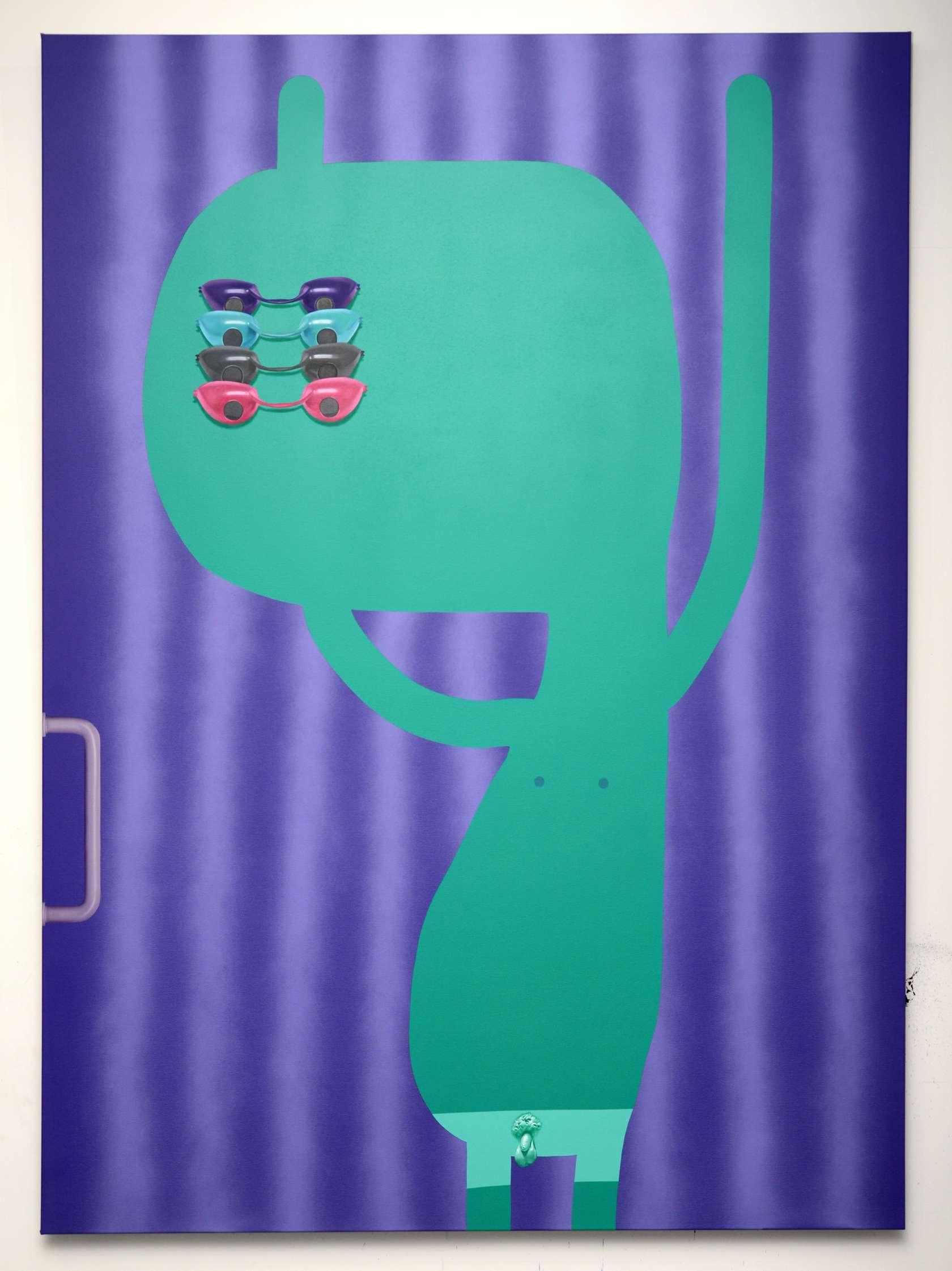 Oli Epp, Ultra Vain, 2018 Huile, acrylique et peinture aérosol sur toile200 × 150 cm / 78 6/8 × 59  in.