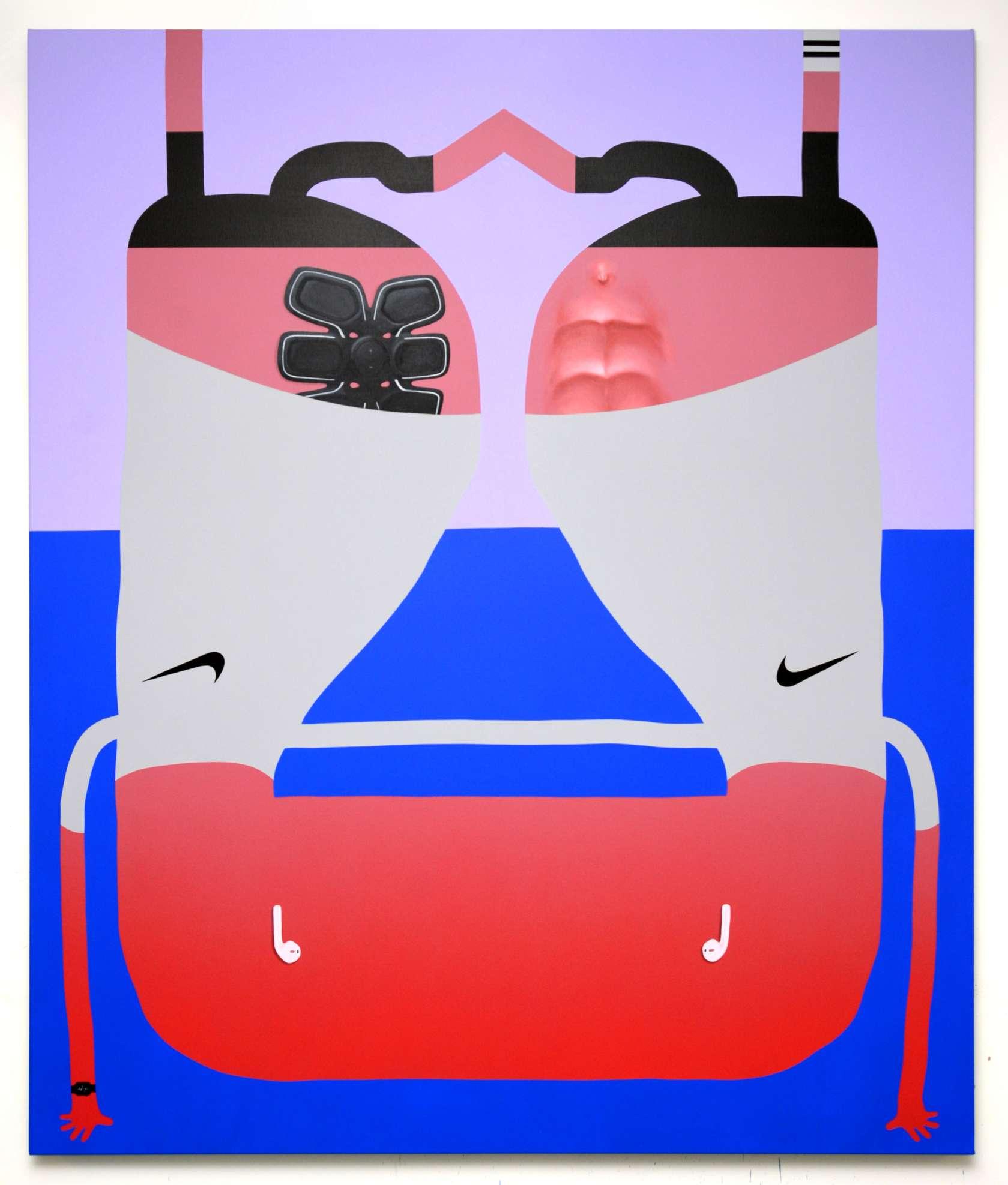 Oli Epp, Abnormal Adonis, 2018 Huile, acrylique et peinture aérosol sur toile180 × 150 cm / 70 7/8 × 59  in.