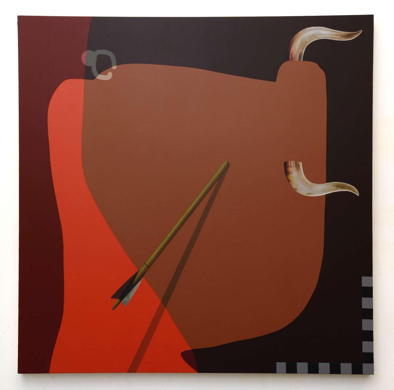 Oli Epp, Bull's Eye, 2017 Huile, acrylique et peinture aérosol sur panneau80 × 80 cm / 31 1/2 × 31 1/2 in.