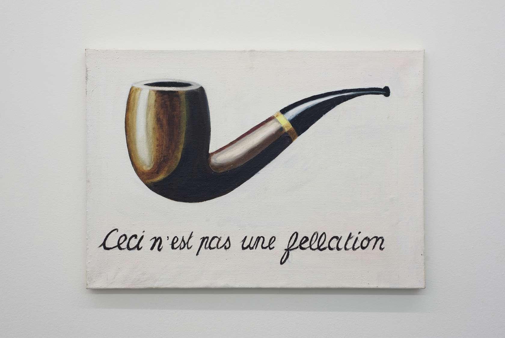 Présence Panchounette, Ceci n'est pas une fellation, 1979 Acrylique sur toile46 x 65cm / 18 1/8 x 25 5/8inches