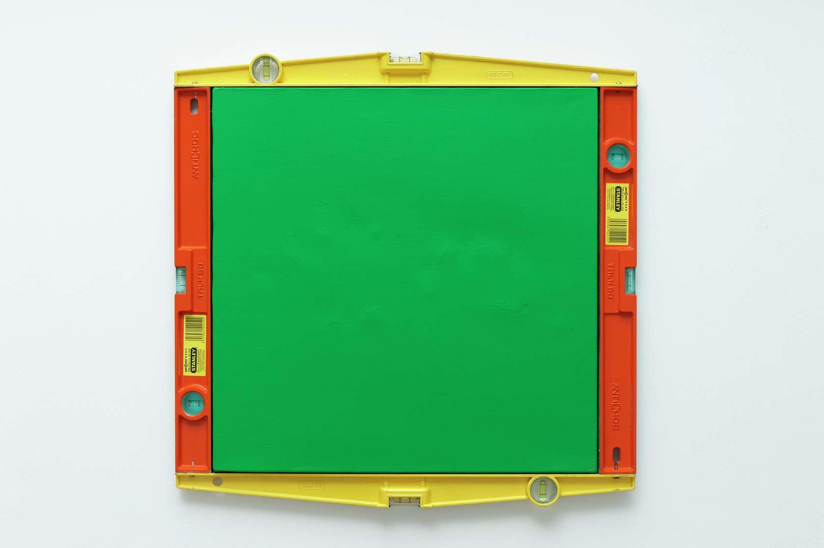 Présence Panchounette, Peinture à niveau, 1983 Acrylique sur toile et niveaux en métal59 × 60 cm / 23 2/8 × 23 5/8 in.