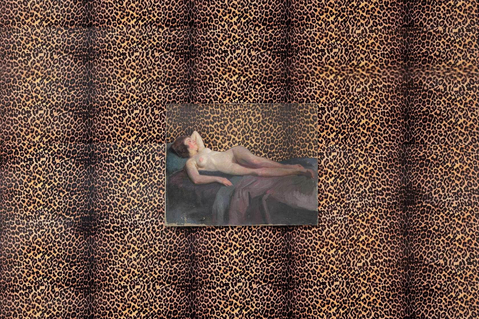 Présence Panchounette, Paradigme d'Olympia, 1984 Collage sur tableau et papier peint64.5 × 80 cm / 25 3/8 × 31 1/2 in.