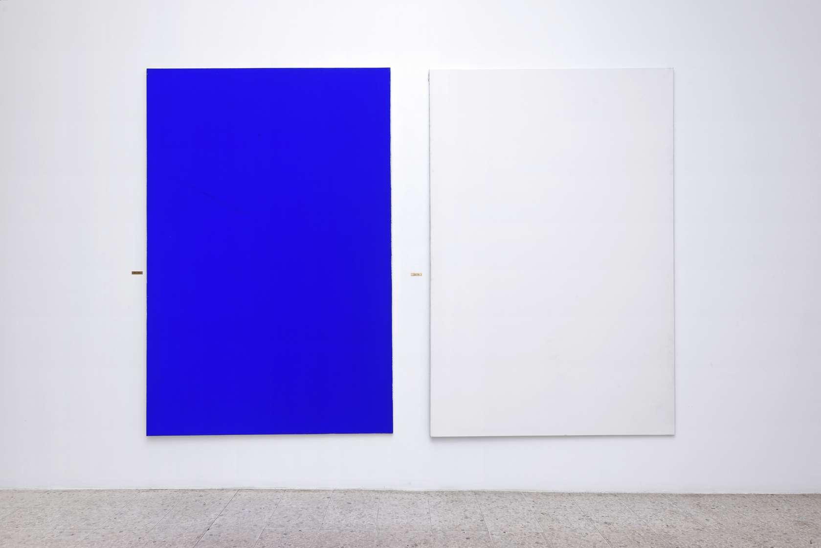 Présence Panchounette, Ciel sans nuage et nuage sans ciel (1889-1988), 1988 Acrylique sur toile et cartels en laiton200 x 140 cm / 78 6/8 x 55 1/8 inches (chaque/each)
